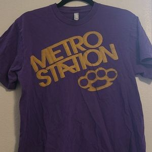 Metro Station Brass Knuckles Band Tee Purple